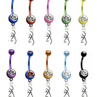 Browning STERLING SILVER Charm PREMIUM Color Titanium Anodized Sexy Belly Navel Ring
