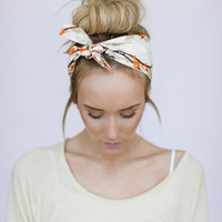 Tie On Headband Doubles as Bun Wrap in Brown Cream and Orange Bird Print Head Wrap Tie Wrap Hair Accessories