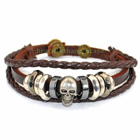 skull wrist bracelet leather cuff bracelet with leather and silver skull cuff men wrist bracelet women cuff bracelet friendship gifts d-383