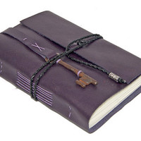 Purple Leather Journal with Skeleton Key Bookmark