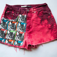 Vintage Jean High Waist Red Cat Print Distressed Denim Cut Off Shorts