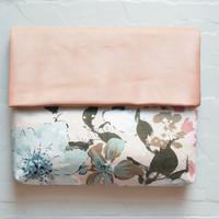 CHERRY Blossom Peach Leather Clutch. Floral Cotton Clutch. Pastel Leather Envelope Clutch