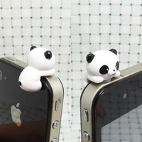 Cute White Black Hanging Panda Anti Dust Plug 3.5mm by Polaris798