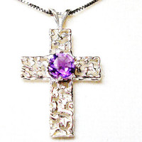 "Amethyst free form cross pendant   ""Ellie's Cross"""