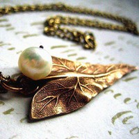 Textured Golden Brass Leaf and Cream Freshwater Pearl Necklace | OvertheTop - Jewelry on ArtFire
