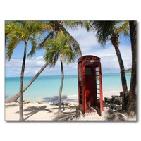 Red public Telephone Booth on Antigua Post Card from Zazzle.com