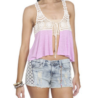 Crochet Tie Crop Vest | Shop Tops at Wet Seal