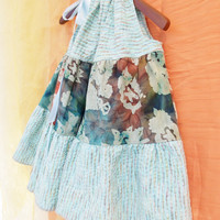 Dress Pillow Case Sundress Flouncy Blue Multi Batik by BebeSophie