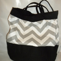 Chevron Large Purse gray chevron shoulder bag by redmorningstudios