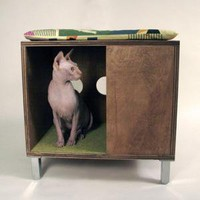 Cat House/Side Table Case Study Condo by modernistcat on Etsy