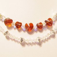 Swarovski Red Hearts and Clear Crystal Flowers - Wedding Necklace