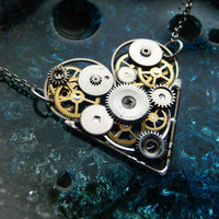 Steampunk Heart Necklace Star Crossed by amechanicalmind