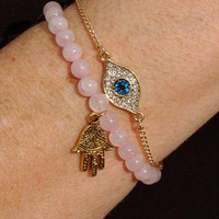 Gold Evil Eye Crystal Chain Bracelet from Black Tied