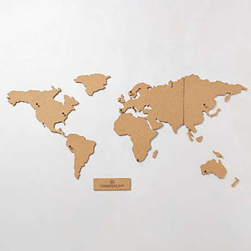 Corkboard Map by Anthropologie Brown One Size Office
