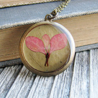 $28.00 Pressed Leaf Necklace Botanical Jewelry Pressed by KateeMarie
