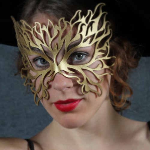 Filigree Flame leather mask in gold | TomBanwell - Leather Craft on ArtFire
