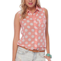 True Dot Sleeveless Button Down Shirt in Pink :: tobi