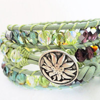 Sweet Serendipity Beaded Leather Wrap Bracelet - Mint green bracelet - Spring fashion - shabby chic - bohemian