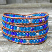 Beaded Leather Wrap Bracelet 4 Wrap with Turquoise Toned Czech Glass Beads