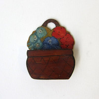 Antique 1930s hand painted rustic folk art wood matchbox holder