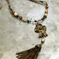 Bullion tassel necklace golden bow vintage assemblage rustic boho gold brass beige and tan beads