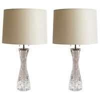Pair of Orrefors, Carl Fagerlund midcentury crystal glass lamps