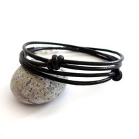 Black leather wrap bracelet knots in orbit knotted cuff unisex design men women