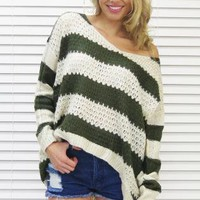 Jumper Sweater Stripe Knit Khaki Cream