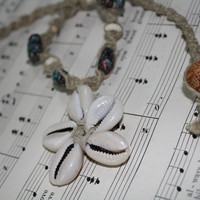 hemp necklace with cowrie shell flower and by WoodlandTrinkets