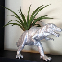 Up-cycled Silver Allosaurus Dinosaur Planter - ON SALE