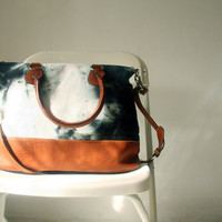 Hand Dyed Canvas Leather Bag in Black and White