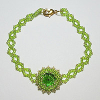 Bracelet with Swarovski Peridot Rivoli Crystal 7.25in