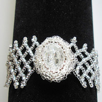 Cuff Bracelet with Swarovski Crystal Oval 6in