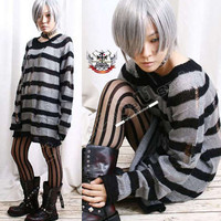 Punk Ladder Sweater Mohair MONOCHROME ASH GRAY 6 Stripe / 8 Stripe