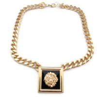 Lion Square Medallion Necklace