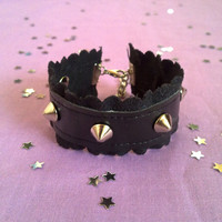 Black Pastel goth spiked cuff with scalloped suede