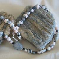 Round Zebra Jasper and Zebra Pillow Stone Necklace | pattysdreamdesigns - Jewelry on ArtFire