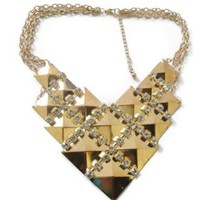 Gold Crystal Triangle Necklace
