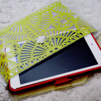 Neon Green / Yellow Geometric Laser Cut, Transparent Envelope Clutch
