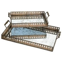 Gothic Metal Mirrored Trays, Set of 2
