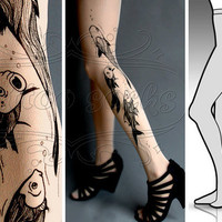 new: S/M sexy Aquarium tattoo tights / stockings/ full length / pantyhose / nylons LIGHT MOCHA