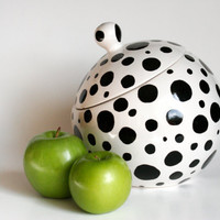 Polka Dotted Cookie Jar - Black and White - Hand Painted - Ready to Ship