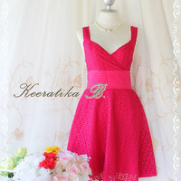 Sound Of Summer II - Sweet Elegant Spring Summer Lacy Sundress Hot Pink Color Thick Cotton Lace Party Wedding Cocktail Dress