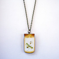 Preying Mantis Necklace Bug in a Jar Jewelry