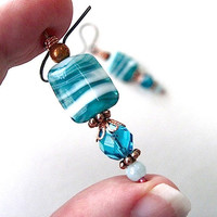 Aqua Teal Earrings Turquoise Blue White Beads, Antiqued Copper Dangles