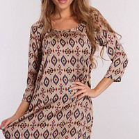 Taupe Multi Printed Loose Fit Dress