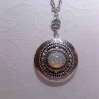 Feminine Victorian White Sea Opal Locket Necklace