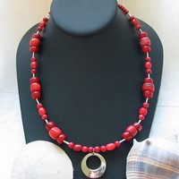 Red Polymer Clay Bead Necklace by PattysDreamDesigns on Etsy