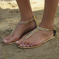 Gold toe post sandals  metallic gold chain  sparkly gems from Chockers Shoes