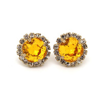 Yellow Sunflower Crystal stud Petite vintage earring - 14k 1 micron Thick plated gold post earrings real swarovski rhinestones .